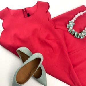 J. Crew Coral Scalloped Hem and Sleeve Dress